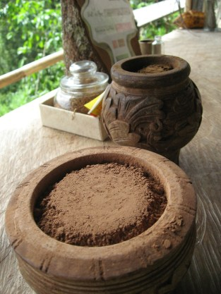 Rustic image including cacao powder