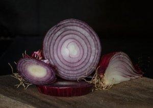 Cut red onions