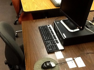Desk with monitor & keyboard - Marilyn McNeal