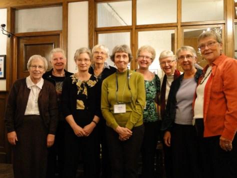 CCS Companions Betty Marlin, Dorothy Naylor, Caryn Douglas, Elizabeth Brain, Edith Shore, Charlotte Caron, Carolyn McDade, Barbara Barnett, and Gwyn Griffith in 2012