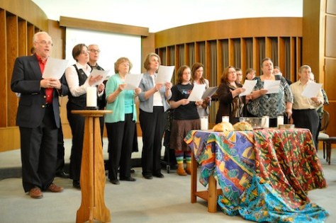 Choir singing Wellspring of Wisdom