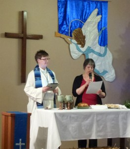 two women presiding at communion table