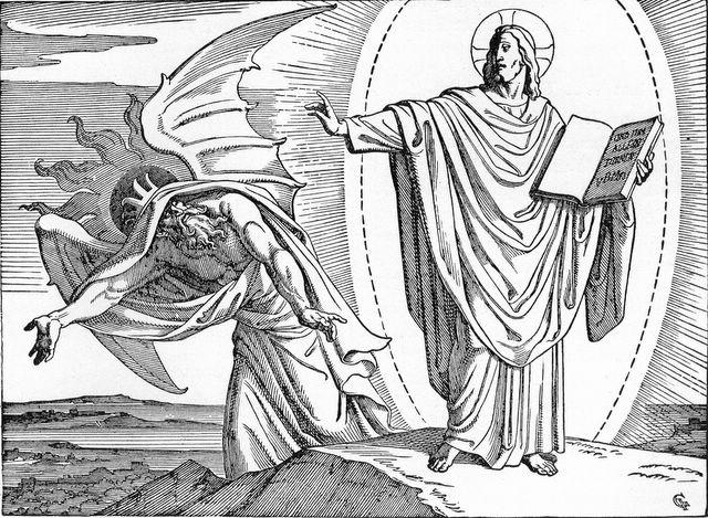 Jesus casting away Satan