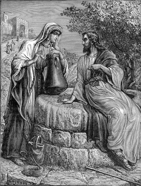 Jesus and a woman at a well