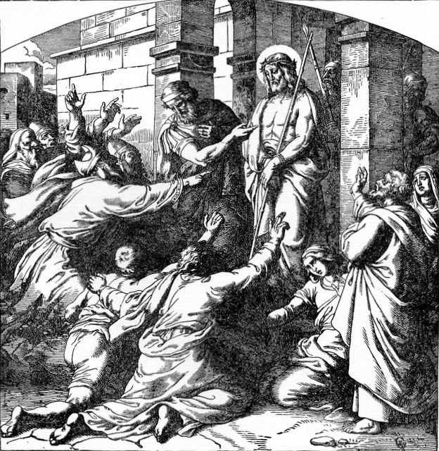 old illustration of Jesus with Pontius Pilate addressing a crowd