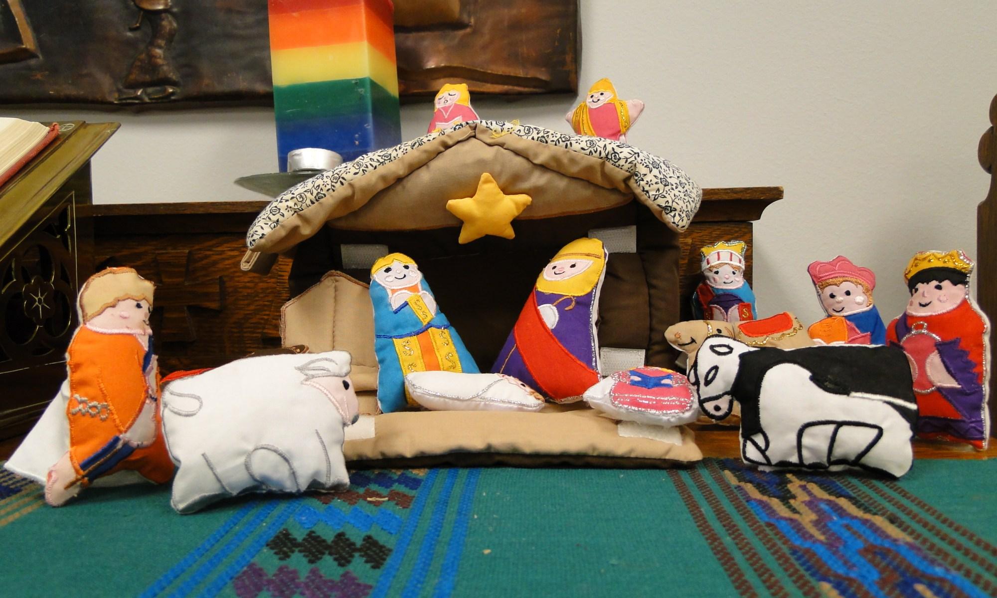 colourful nativity scene