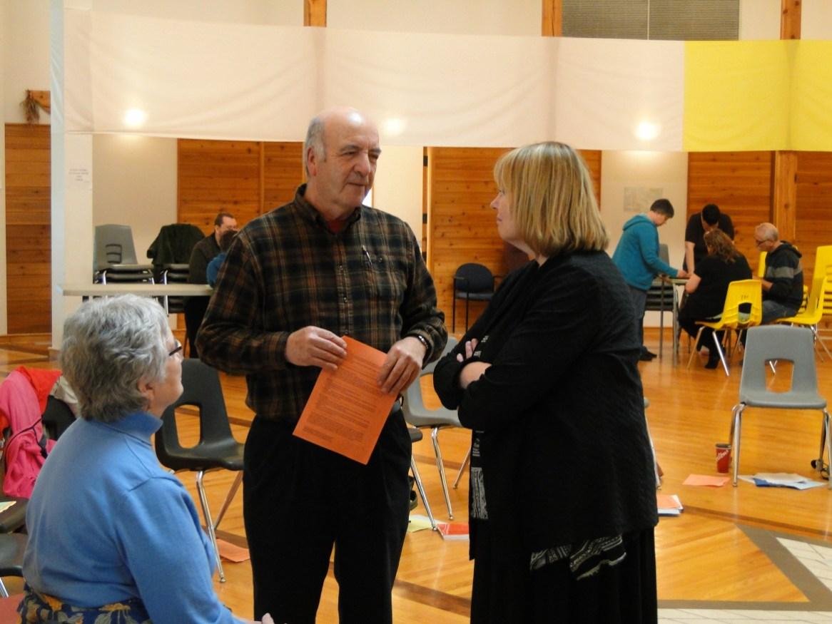 Elders Dorothy and Stan McKay in conversation with chaplain Jamie Bradshaw