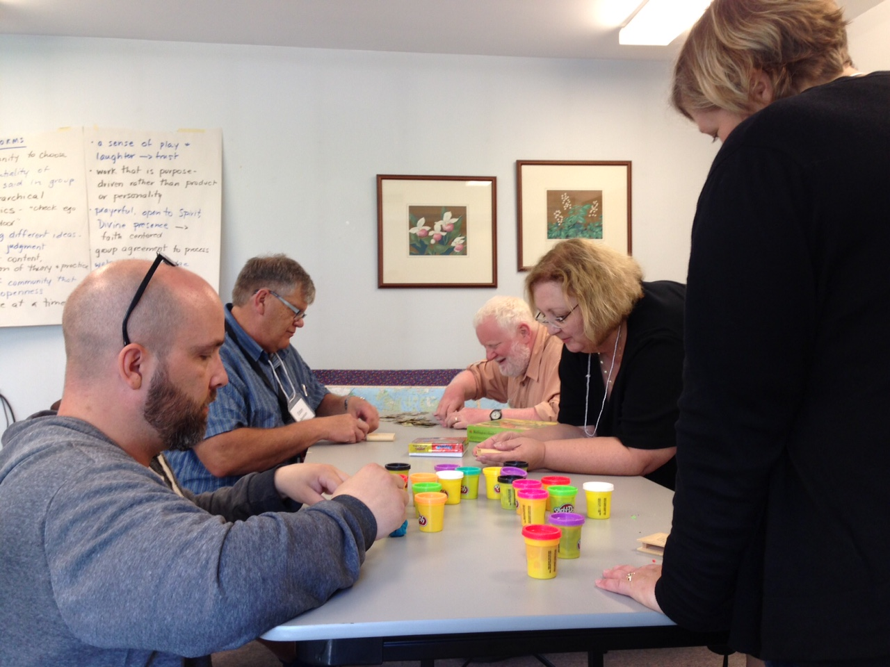 LDM participants engaging playdough and puzzles