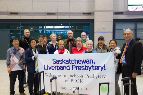The River Bend Presbytery delegation being welcomed in Korea.