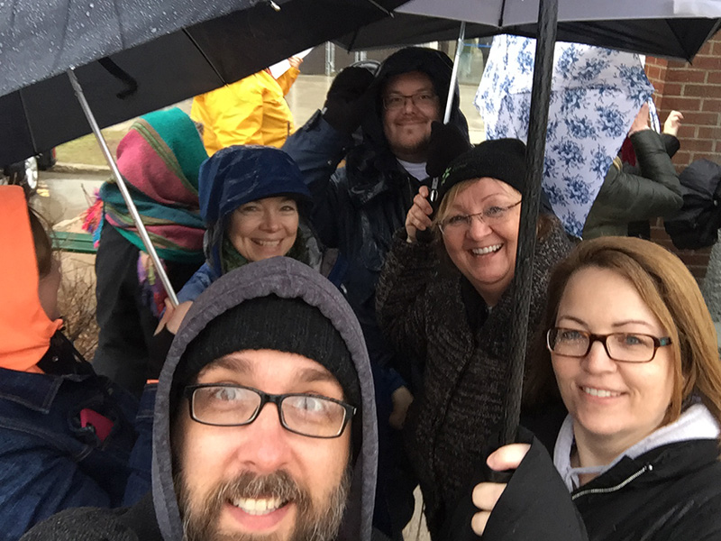 A rainy night at the Meet Me @ The Bell Tower gathering in Winnipeg's North End