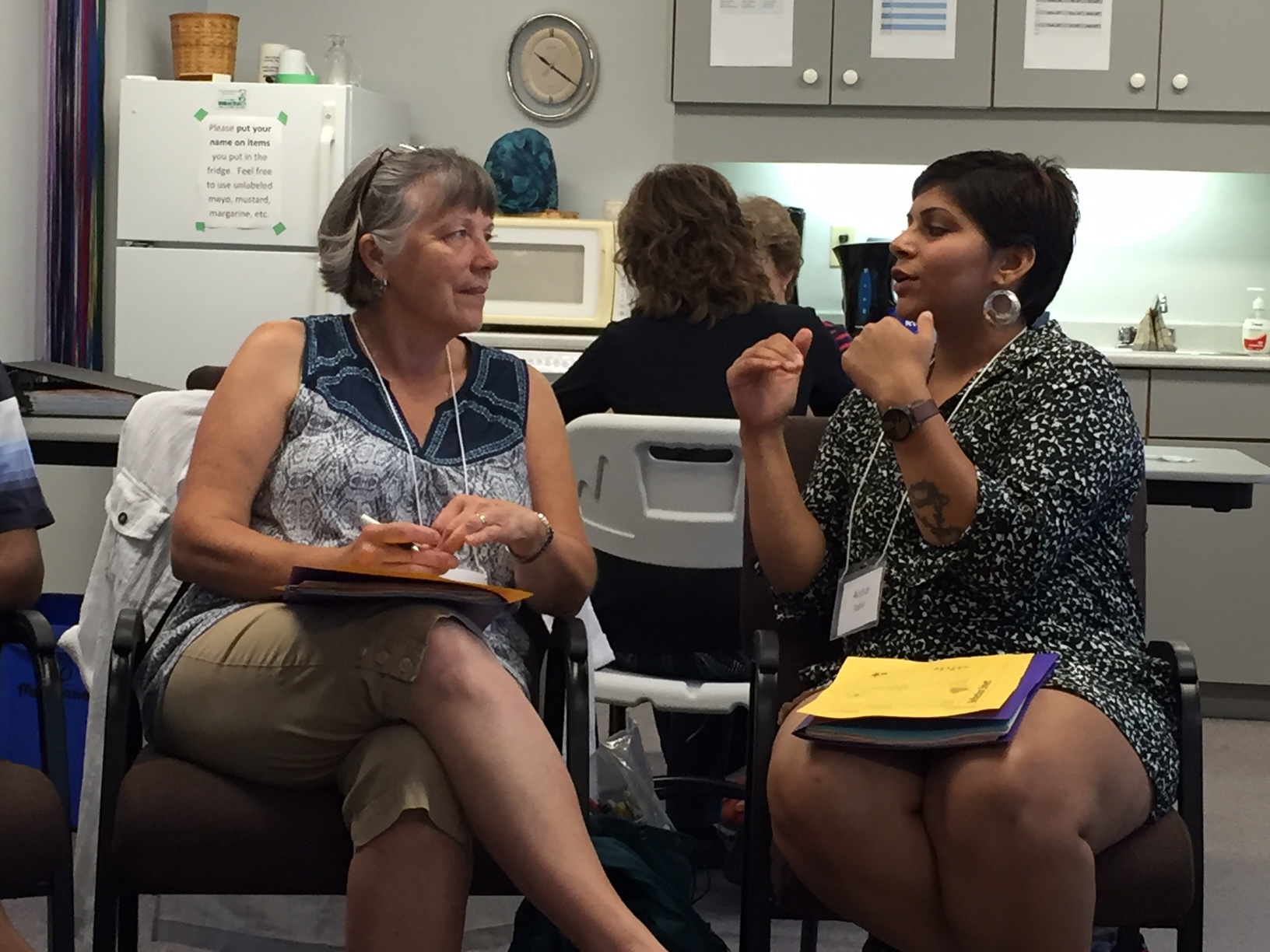 Cathie and Aisha in conversation at Learning on Purpose