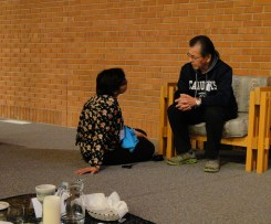 Aisha in conversation with Herb, elder from Sandy-Saulteaux