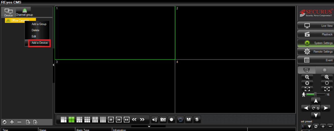 Making a camera group into the software