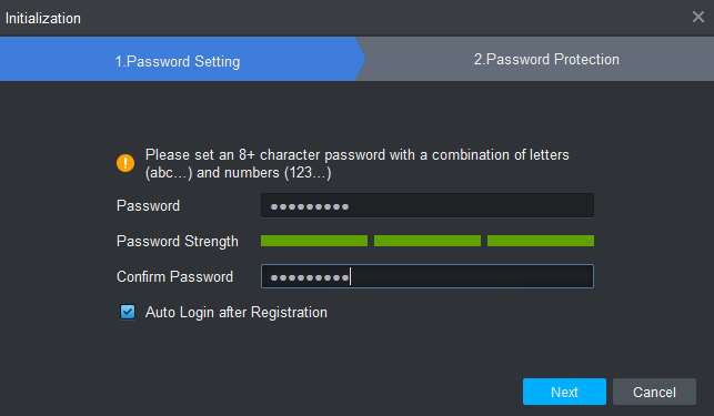 Setup password of the software