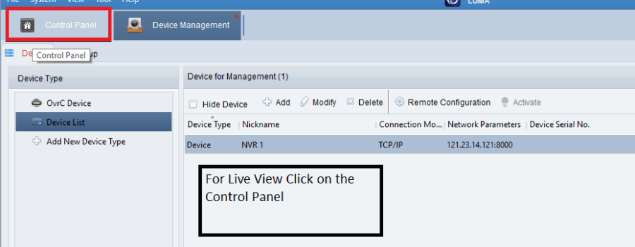 List of the added devices on the device manager