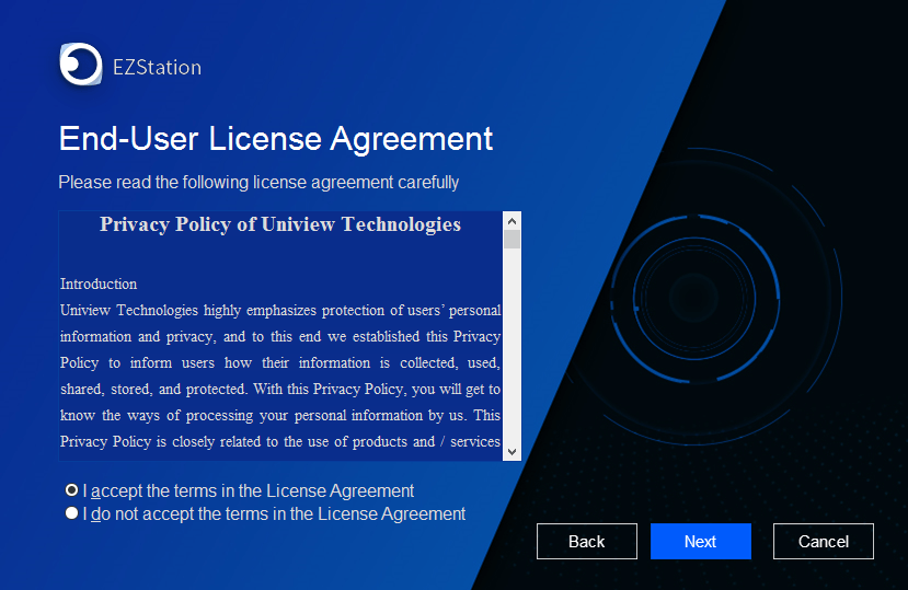 User license agreement, terms and conditions of EZLive for PC