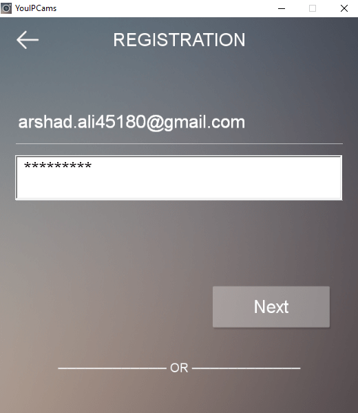 Enter email ID and password