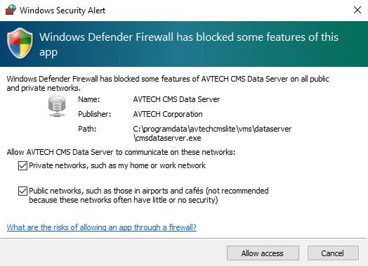 Allow windows firewall access