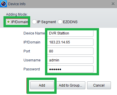 Enter device credentials to add device