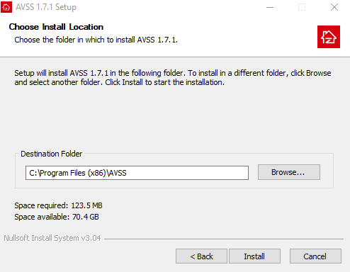 Select the destination folder to install the files