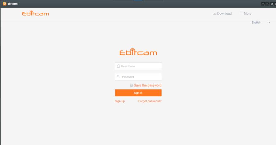 Login window of the app