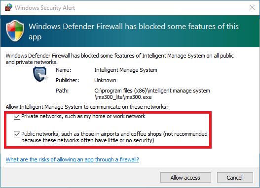 Provide firewall access
