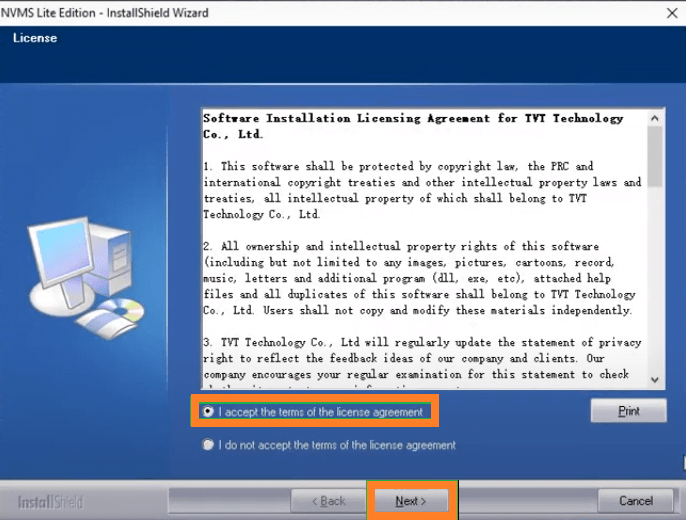 Terms and conditions of the software
