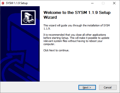 The installation wizard of the app