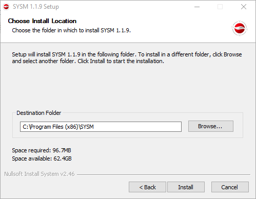 Select the installation directory