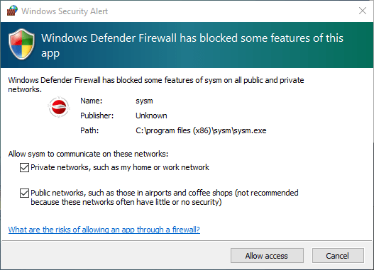 Allow firewall access to the CMS software