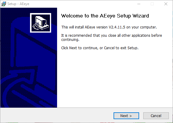 Installation wizard of the App