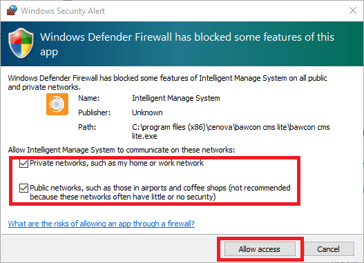 Grant the Windows Firewall access to the application