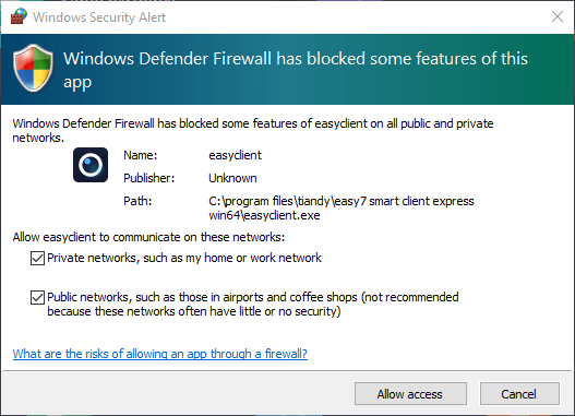 firewall access to the Tiandy application for all types of connection.