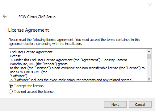 """4. Select the option <em>""""I accept""""</em> and then click on the <em><strong>""""Next""""</strong></em> to proceed."""