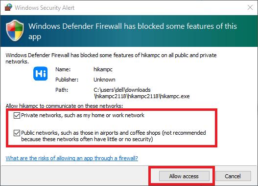 Allow access to windows firewall