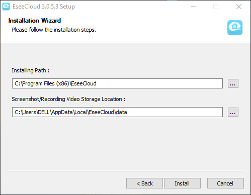 """2. Select the file folder to store software's file as well as the recording of the camera. Then click on the """"Install"""" button to start installation."""
