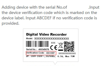 The device code provided on the device