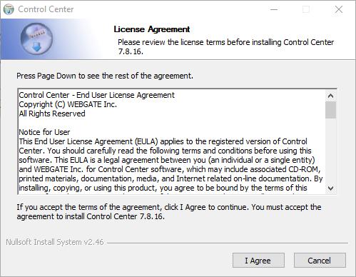 License agreement of WebEye