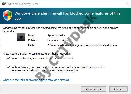 Allow the firewall access to the installation