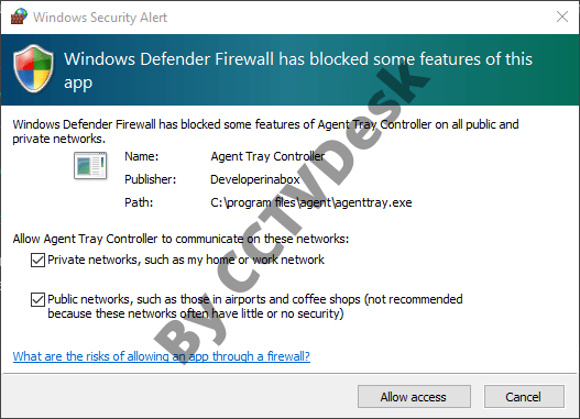 Provide firewall access to the application