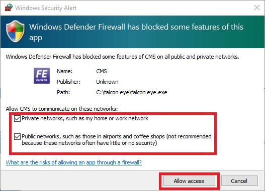 Windows firewall access to Falcon app
