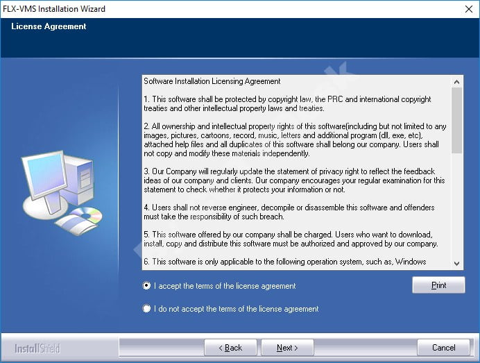 Accept license agreement of VMS Client