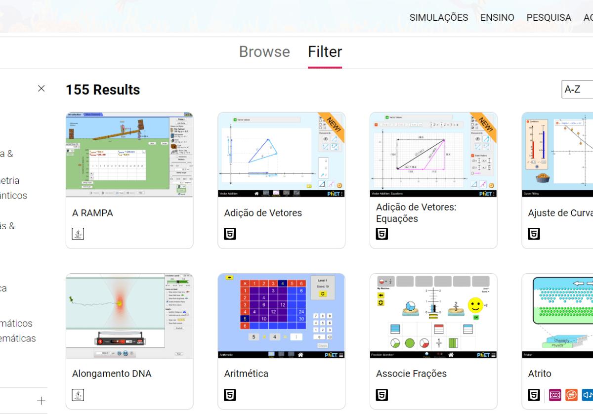 Recursos virtuais para aulas de ciências