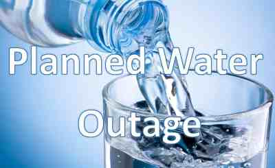 A notice that there will be a planned water outage