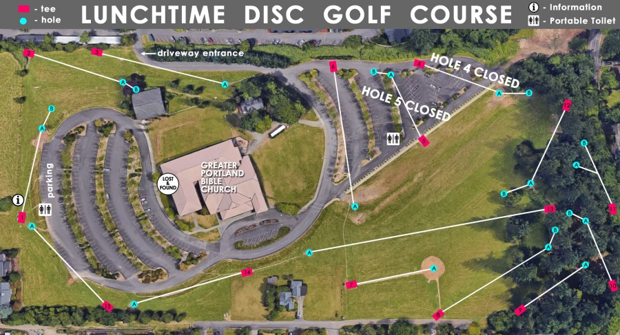 Portland Lunchtime Disc Golf Course   Greater Portland Bible Church Course Map