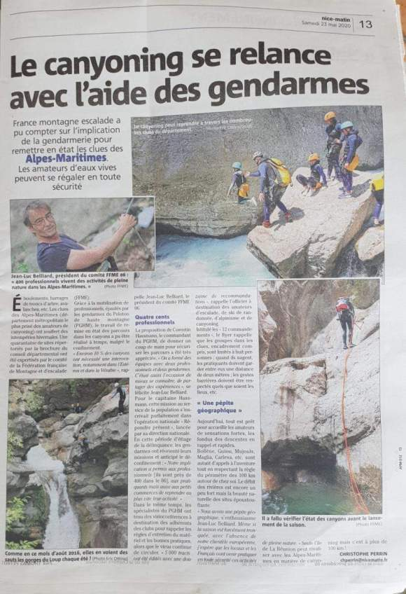 canyons relance aide gendarmes