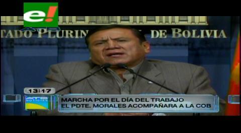 Ministro confirma participación de Evo en marcha por el 1 de Mayo en La Paz