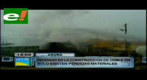 Se incendian calderas asfálticas de constructoras de doble vía Oruro-La Paz