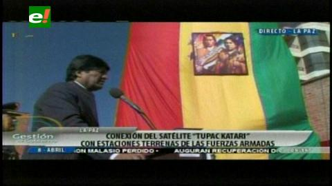 Presidente Morales inaugura conexión de comunicación de las FFAA con satélite Túpac Katari