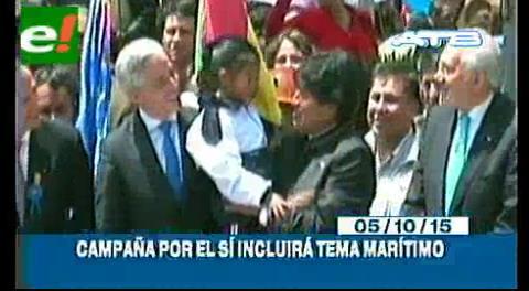 Titulares de TV: Campaña por el Si para la repostulación de Evo incluirá tema marítimo